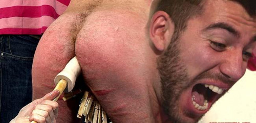 Clothes ripped off, wrists tied, body flogged Gay BDSM