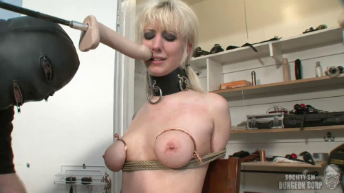 Tight bondage, spanking and torture for horny blonde part 1