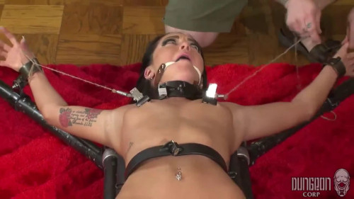 Hard restraint bondage, spanking and punishment for stripped dark brown