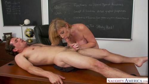 Slides her underwear aside MILF Sex