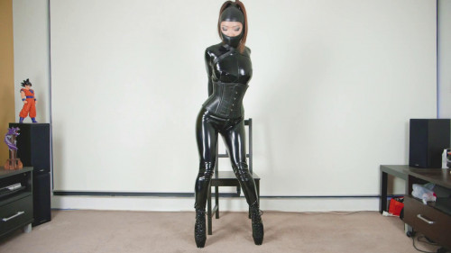 With my feet, my weight BDSM Latex