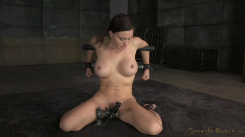 Sexy girl next door Krissy Lynn bound in strict device bondage and throatboarded by 2 cocks!