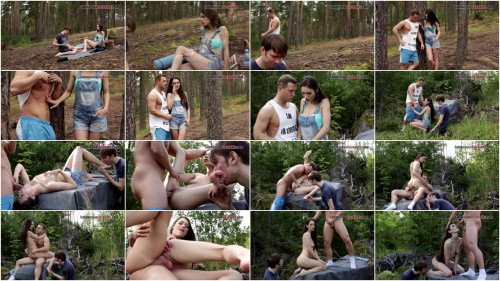 Cuckold In The Wood Femdom and Strapon