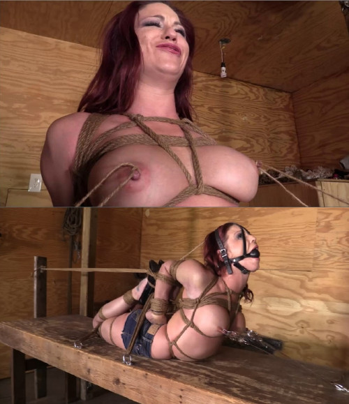 Tight bondage, torture and hogtie for sexy girl with naked boobs