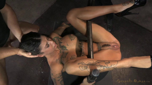 Bonnie Rotten shackled in strict device bondage BDSM