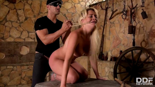 Tight tying, spanking and domination for hot bare blond Full HD 1080