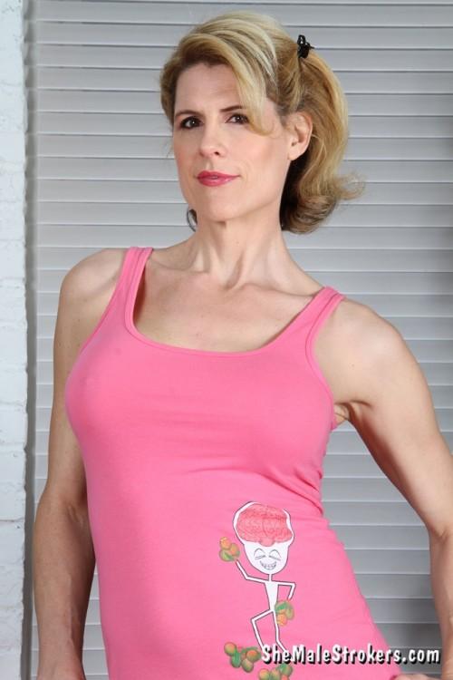 Delia Leggy Blonde Tranny Cums on her Tummy! (2014)