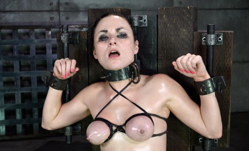 Pretty pale Veruca James gets shackled, throatboarded and totally destroyed by two big cocks
