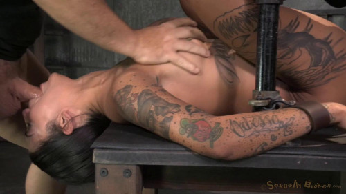 Bonnie Rotten shackled in strict device bondage BDSM