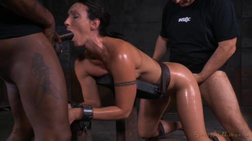 Toned tattooed MILF bent over in bondage BDSM