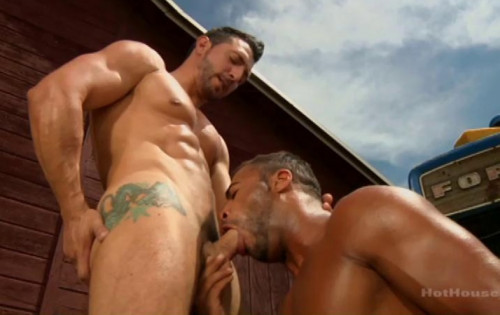 Outdoor party with  hung cocks