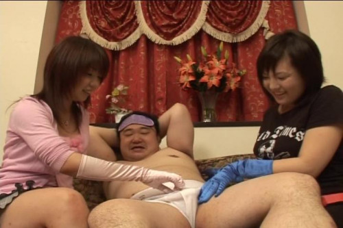 Two Japanese girls handjob penis of man & tickling to  laugh of bound fat man