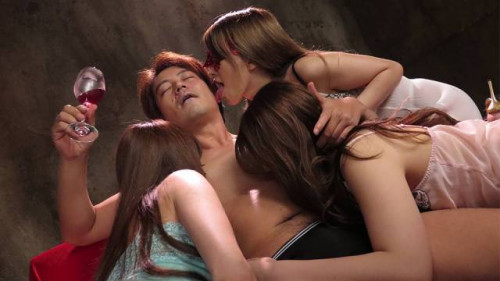 Three japanese babes share a ramrod in a foursome