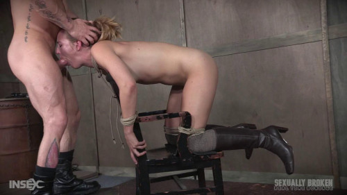 Chair fastened and brutally double drilled, Squirting screaming deepthroat!