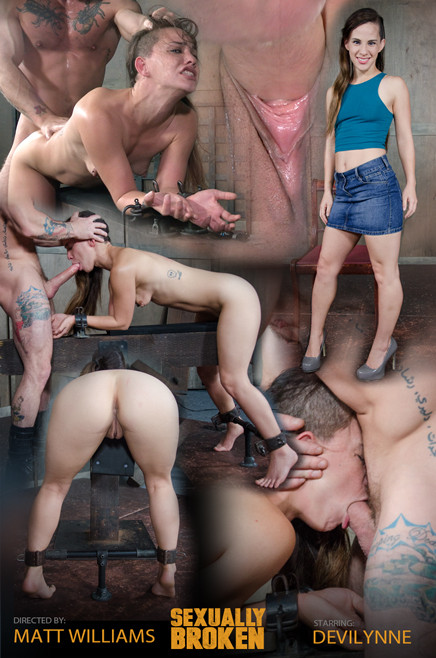 Tiny Devi Lynne gets brutally throated with huge cock and roughly fucked into the ground