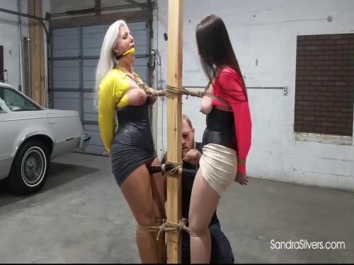Two Tied, Ballgagged MILFs, mangos fastened, Bound to a Pole in the Garage