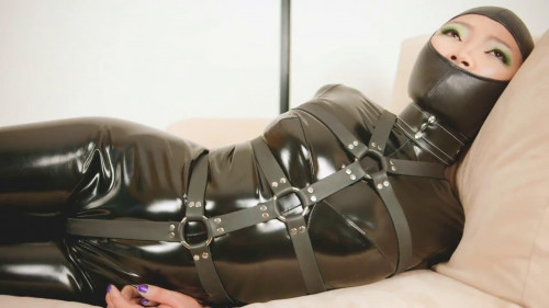 Super bondage, domination and hogtie for sexy girl in latex BDSM Latex