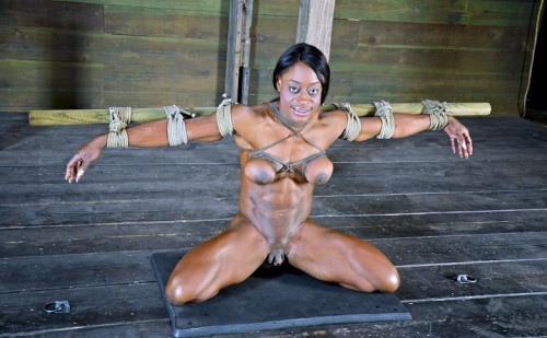 Professional Body Builder, bound, oiled, hung upside down hard
