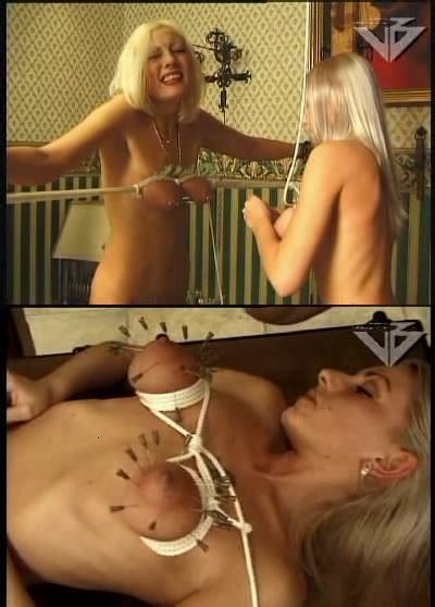 Blonde in retro BDSM