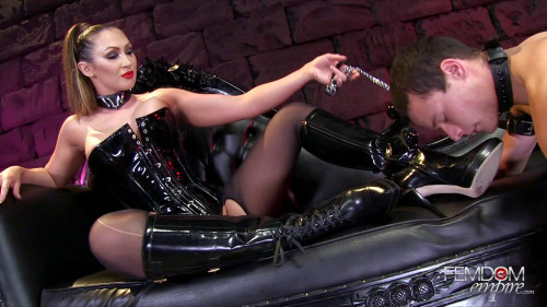 Boot polishing bitch-pet Femdom and Strapon