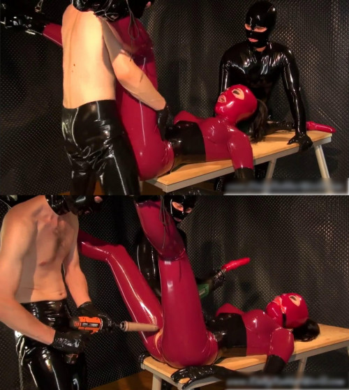 Hard bondage, domination and torment for sexy girl in latex BDSM Latex