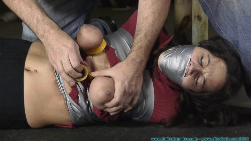 Panty Gag Tape Breast Bondage and a Tight Hogtaping for Summer