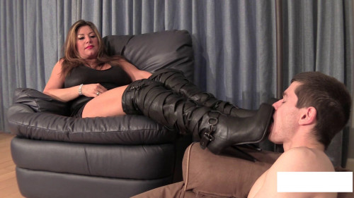 Step boy made to Lick Boots and Feet Clean