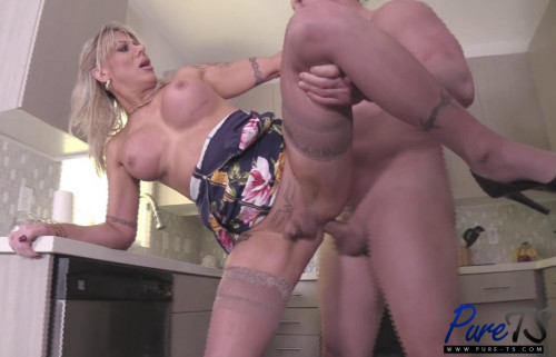 Hot TS Milf Destroyed At Kitchen