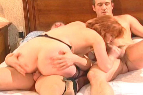Mature whore in a pantyhose Threesome