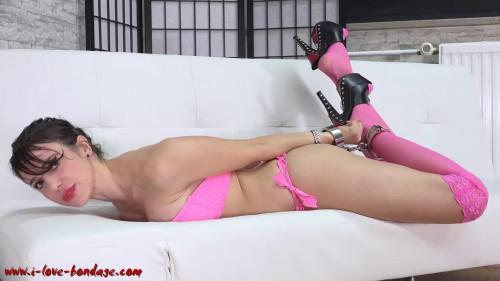 I love Bondage - Vicky tied up with heavy cuffs