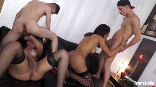 Leticia & Lorrane and horny studs Transsexual