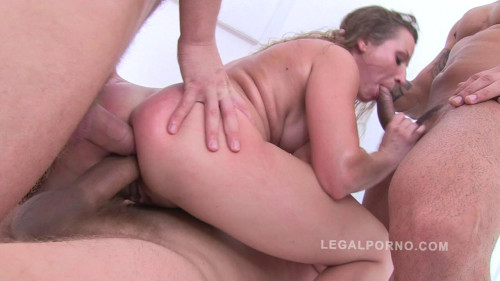 Hally Thomas in brutal gangbang anal humiliation Orgies
