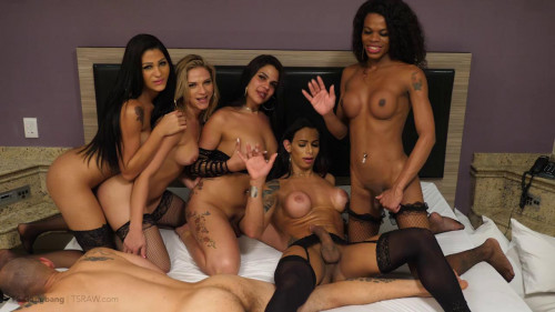Gangbang & Open Bottom For Ts Spunk SheMale