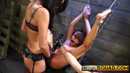 Marina Angel Endures Lesbian Domination Threesome with