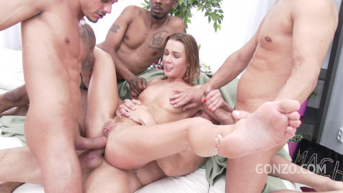 Anal gangbang with triple penetration Interracial