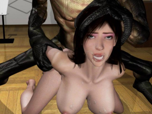 3d Beautiful Wife with Horrifying Snake Man