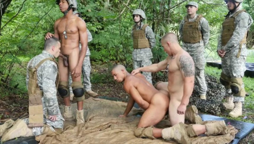 Jungle Orgy With Muscle Soldiers