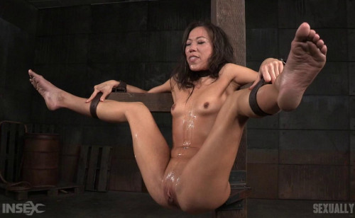 Sexy Asian fuck doll roughly pounded in mouth and pussy