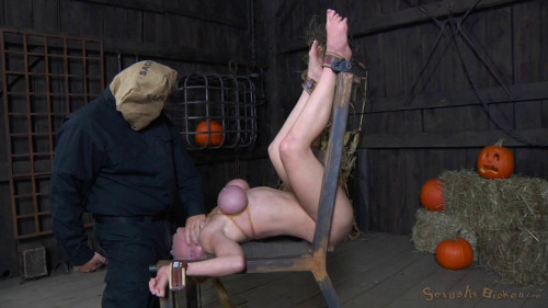 Ela Darling firmly bound and throatboarded by hard cocks while cumming on a fucking machine!