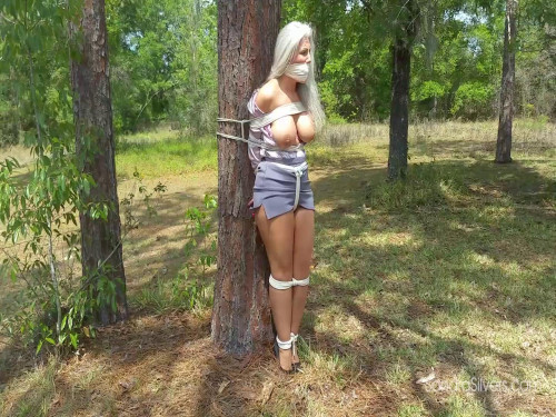 Two MILFs Carried Over-the-Shoulder into the Woods and Tied to a Tree!