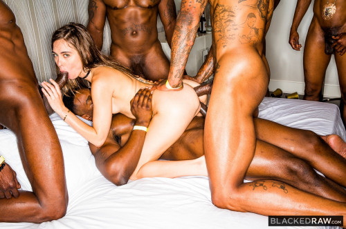 Girlfriend Gangbang At The After Party - 720p Interracial Sex