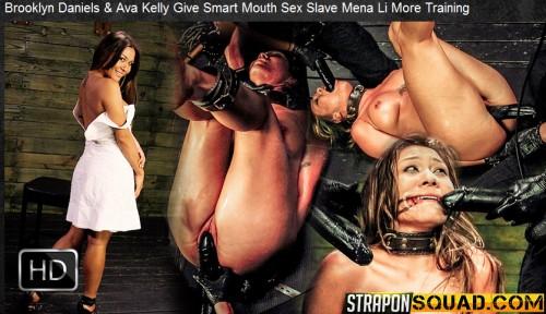 Straponsquad – Jun 10, 2016 – Brooklyn Daniels & Ava Kelly Give Smart Mouth Sex Slave Mena Li