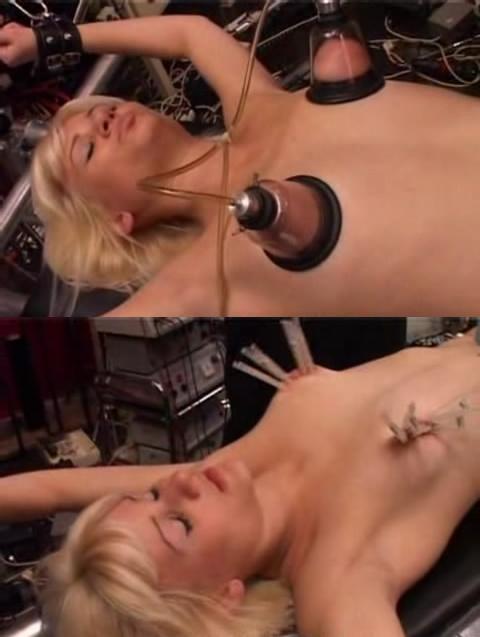 Blonde in a hellish BDSM