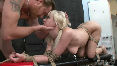 Constricted tying, spanking and soreness for concupiscent golden-haired part ASS TO MOUTH Full HD 1080p