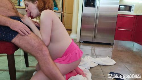 Pregnant Little Alexa Gives an Unforgettable Blowjob Pregnant