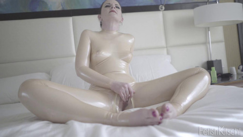 Charlotte beige new suit made of latex Masturbation