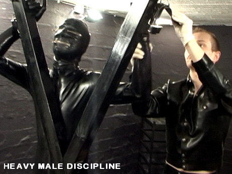 Straight by Straight Male Discipline in full Rubber, heavy Gay BDSM