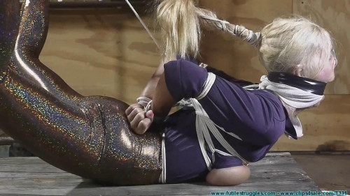 Miss Glitter Pants in a Legs Spread Hogtie pt.3 BDSM