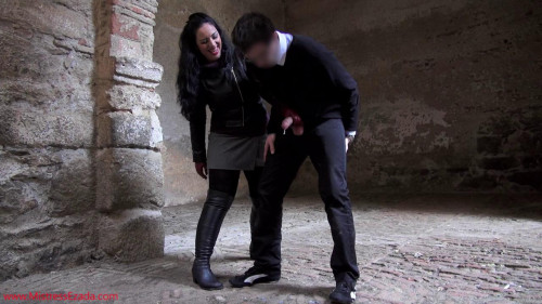 Ruining a stalker's balls and orgasm Femdom and Strapon