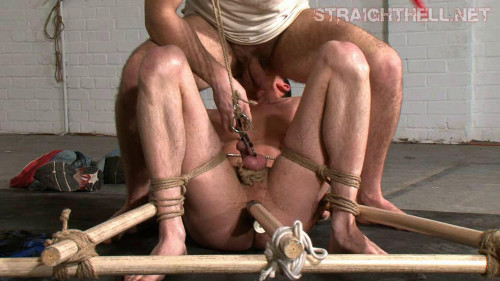 Bound with dildo tied in place for Mike
